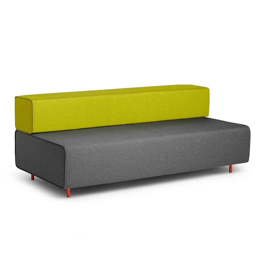 Block Party Lounge Sofa, Dark Gray + Green| Modern Office Furniture | Poppin