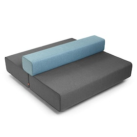 Dark Gray + Blue Block Party Lounge Back It Up Sofa