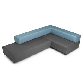Dark Gray + Blue Block Party Lounge Corner Office