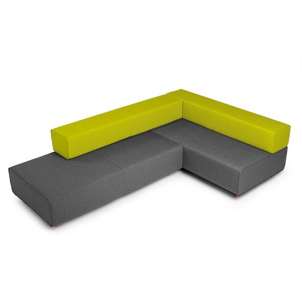 Dark Gray + Green Block Party Lounge Corner Office,Dark Gray,hi-res