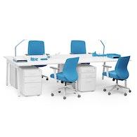 """Series A Double Desk for 4, White, 57"""", White Legs,White,hi-res"""