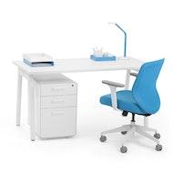 Series A Single Desk For 1, White Legs,,hi-res