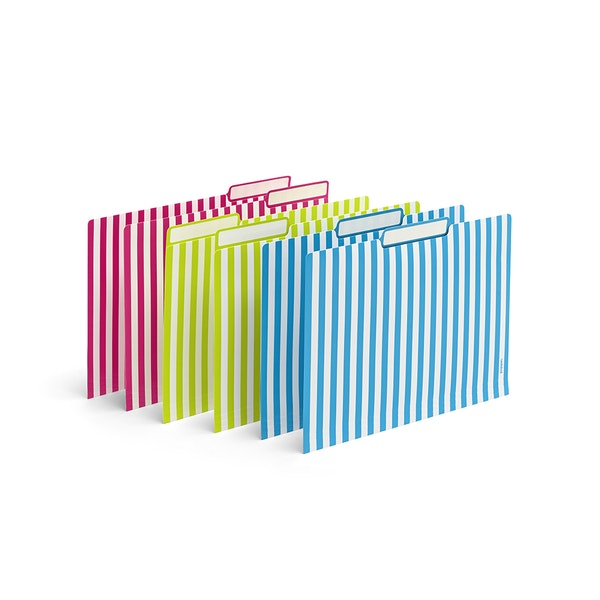 Classic Assorted Striped File Folders, Set of 6,,hi-res