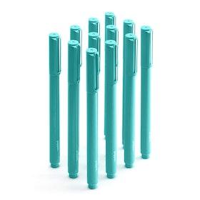 Aqua Signature Ballpoint Pens w/ Blue Ink, Set of 12