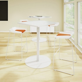 Scoop Bar Stool, Orange Seat Pad, Silver Frame