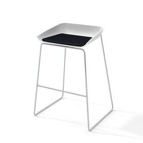 Scoop Bar Stool, Black Seat Pad, Silver Frame