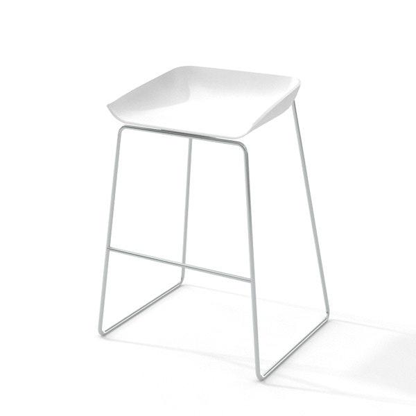 Scoop Bar Stool, Silver Frame,White,hi-res