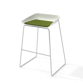 Scoop Bar Stool, Green Seat Pad, Silver Frame