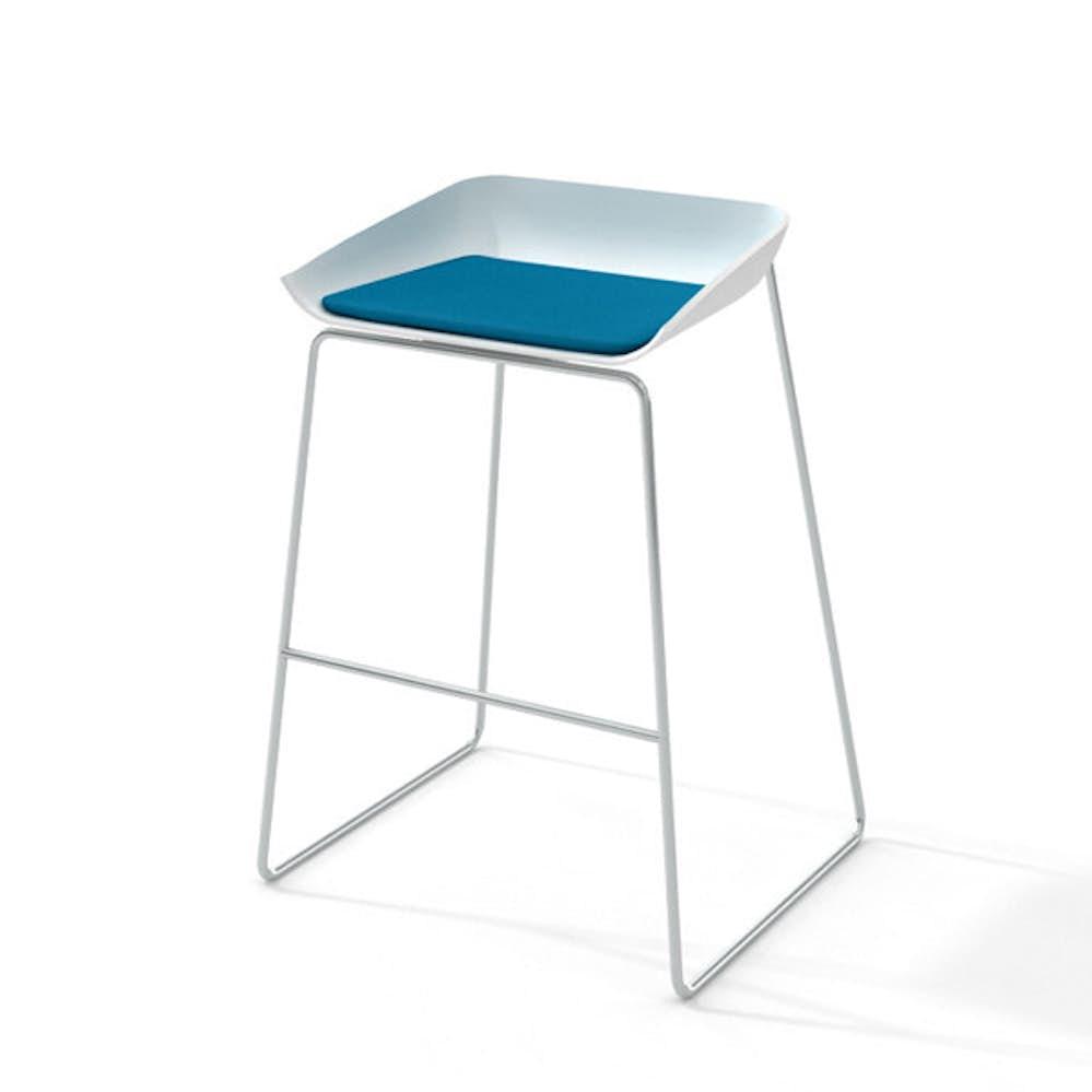 Scoop bar stool pool blue seat pad silver framepool bluehi