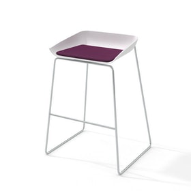Scoop Bar Stool, Purple Seat Pad, Silver Frame