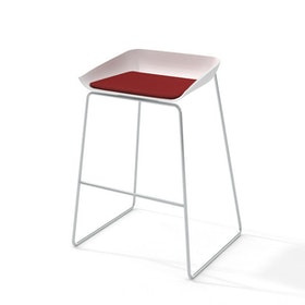 Scoop Bar Stool, Red Seat Pad, Silver Frame