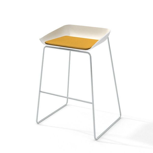 Genial Scoop Bar Stool, Yellow Seat Pad, Silver Frame