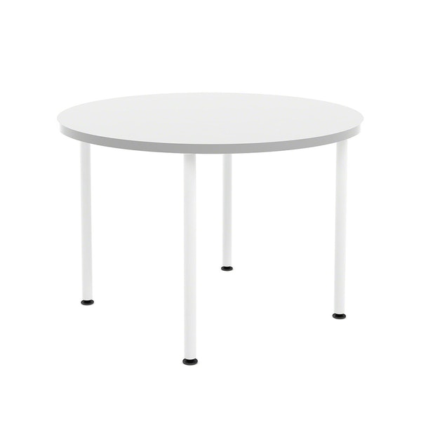 "White Simple Round Table, 42"",,hi-res"