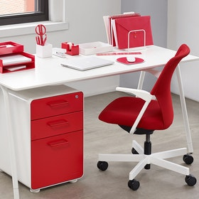 White Red Stow 3 Drawer File Cabinet Hi Res