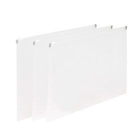 Clear Large Zip Folios, Set of 3