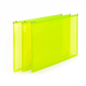 Neon Green Large Zip Folios, Set of 3