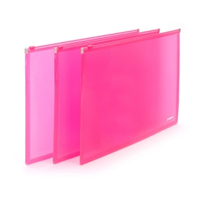 Neon Pink Large Zip Folios, Set of 3