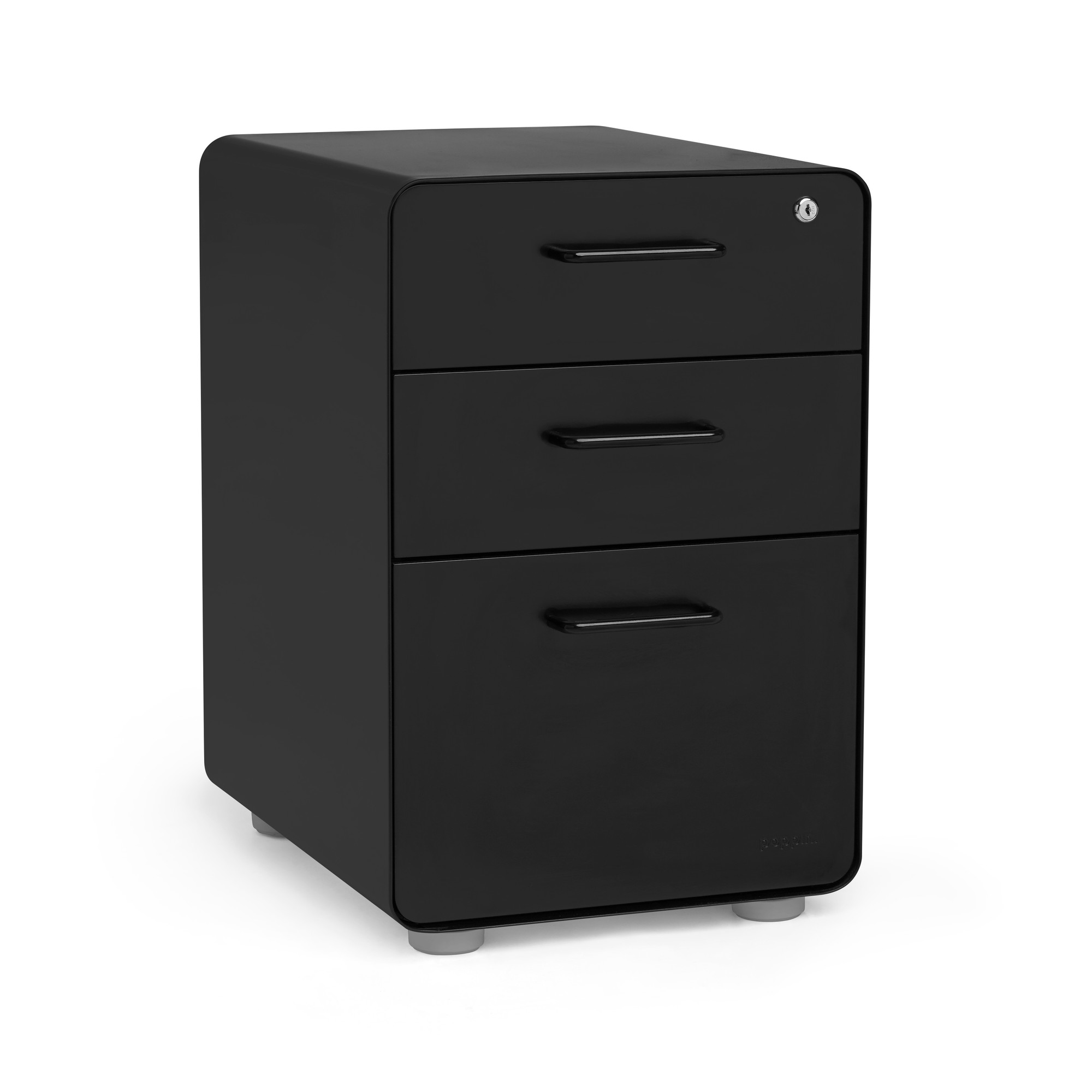 Black Stow 3 Drawer File Cabinet Poppin