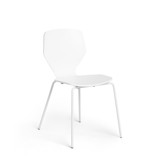 White Groove Stacking Side Chairs, Set of 2,White,hi-res