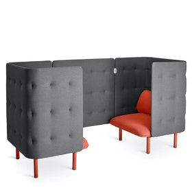 Brick + Dark Gray QT Privacy Lounge Chair Booth