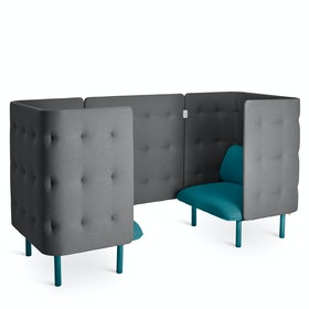 Teal + Dark Gray QT Privacy Lounge Chair Booth