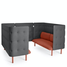 Brick + Dark Gray QT Privacy Lounge Sofa Booth
