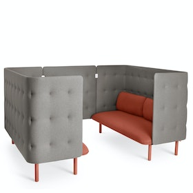 Brick + Gray QT Privacy Lounge Sofa Booth