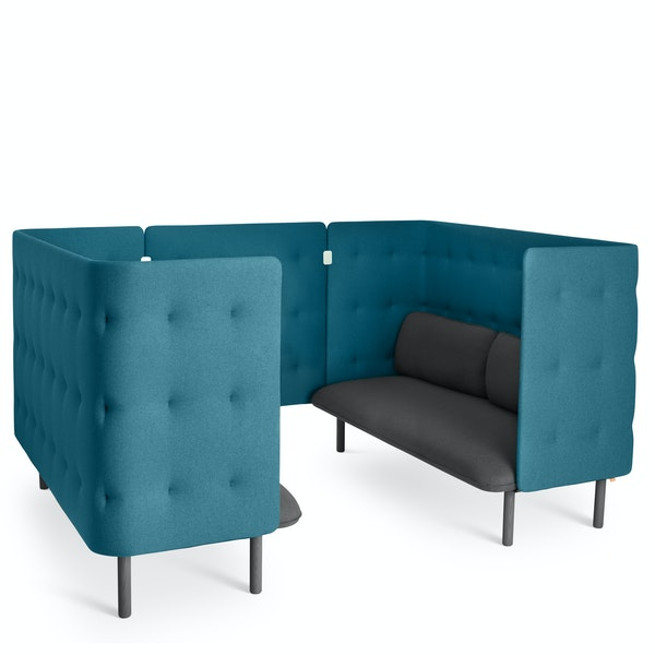 Dark Gray + Teal QT Sofa Booth,Dark Gray,hi-res