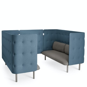 Gray + Dark Blue QT Sofa Booth
