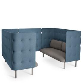 Gray + Dark Blue QT Sofa Booth