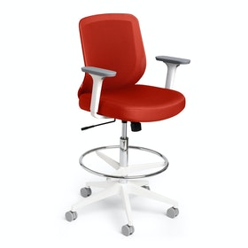 Max Drafting Chair, Mid Back, White Frame