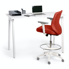 Brick Max Drafting Chair, Mid Back, White Frame