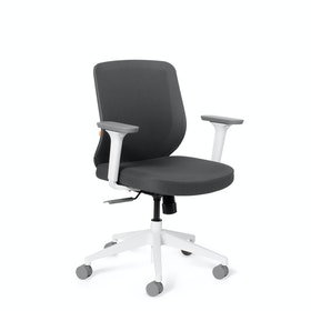 Dark Gray Max Task Chair, Mid Back, White Frame