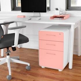 White + Blush Stow 3-Drawer File Cabinet,Blush,hi-res