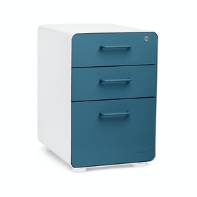 White + Slate Blue Stow 3-Drawer File Cabinet