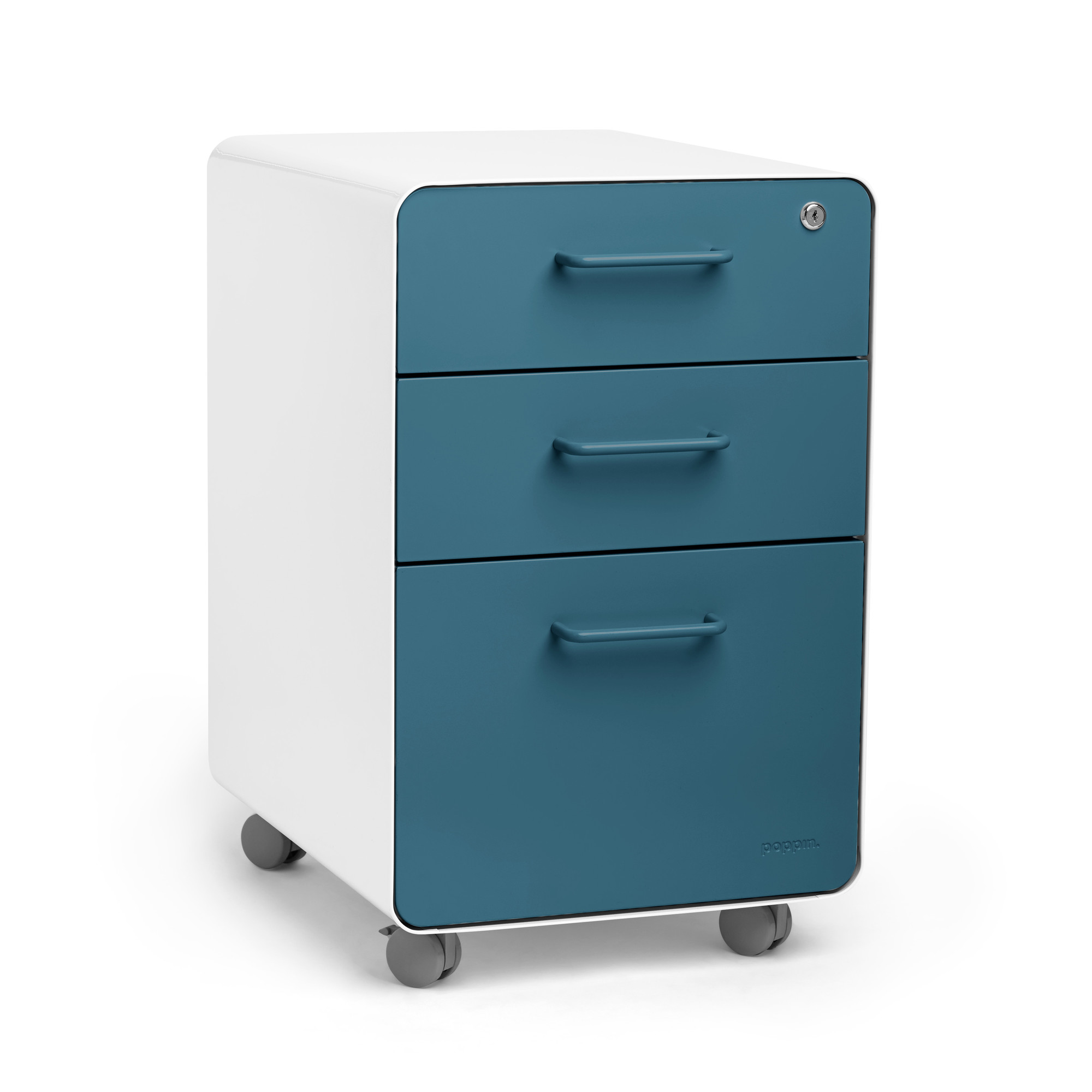 Bon Images. White + Slate Blue Stow 3 Drawer File Cabinet, Rolling ...