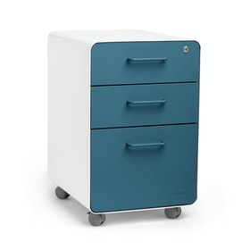 White + Slate Blue Stow 3-Drawer File Cabinet, Rolling