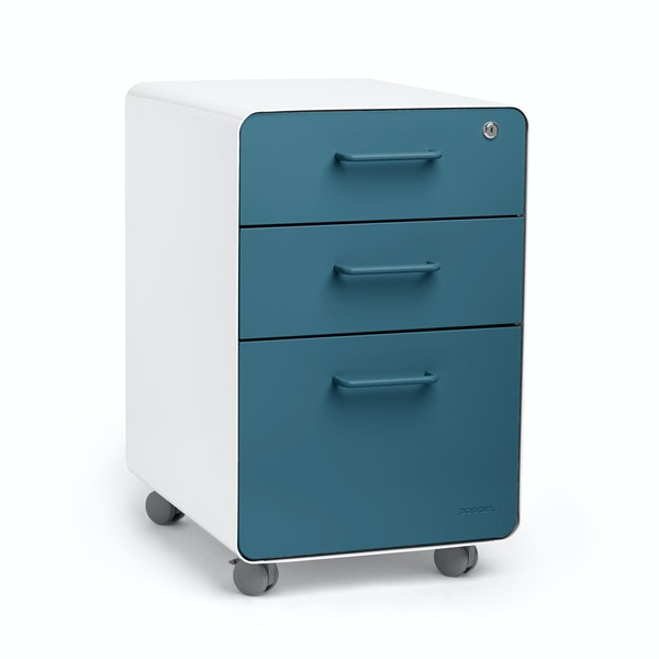 White + Slate Blue Stow 3-Drawer File Cabinet, Rolling,Slate Blue,hi-res