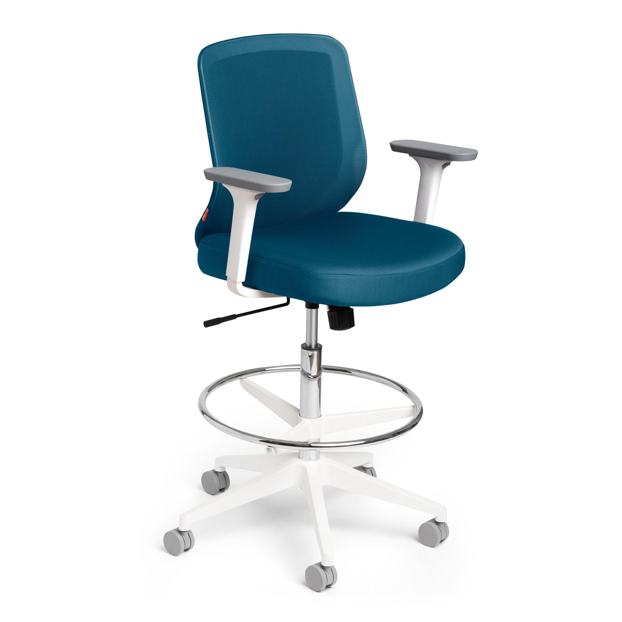 Slate Blue Max Drafting Chair Mid Back White Frame Hi