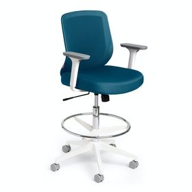 Slate Blue Max Drafting Chair, Mid Back, White Frame