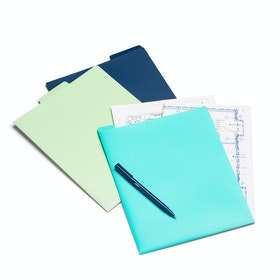 Aqua, Mint + Navy Vertical File Folders, Set of 3