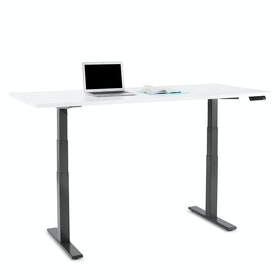 "Series L Adjustable Height Table, White, 72"" x 30"", Charcoal Legs"
