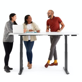 "Series L Adjustable Height Table, White, 72"" x 30"", Charcoal Legs,White,hi-res"
