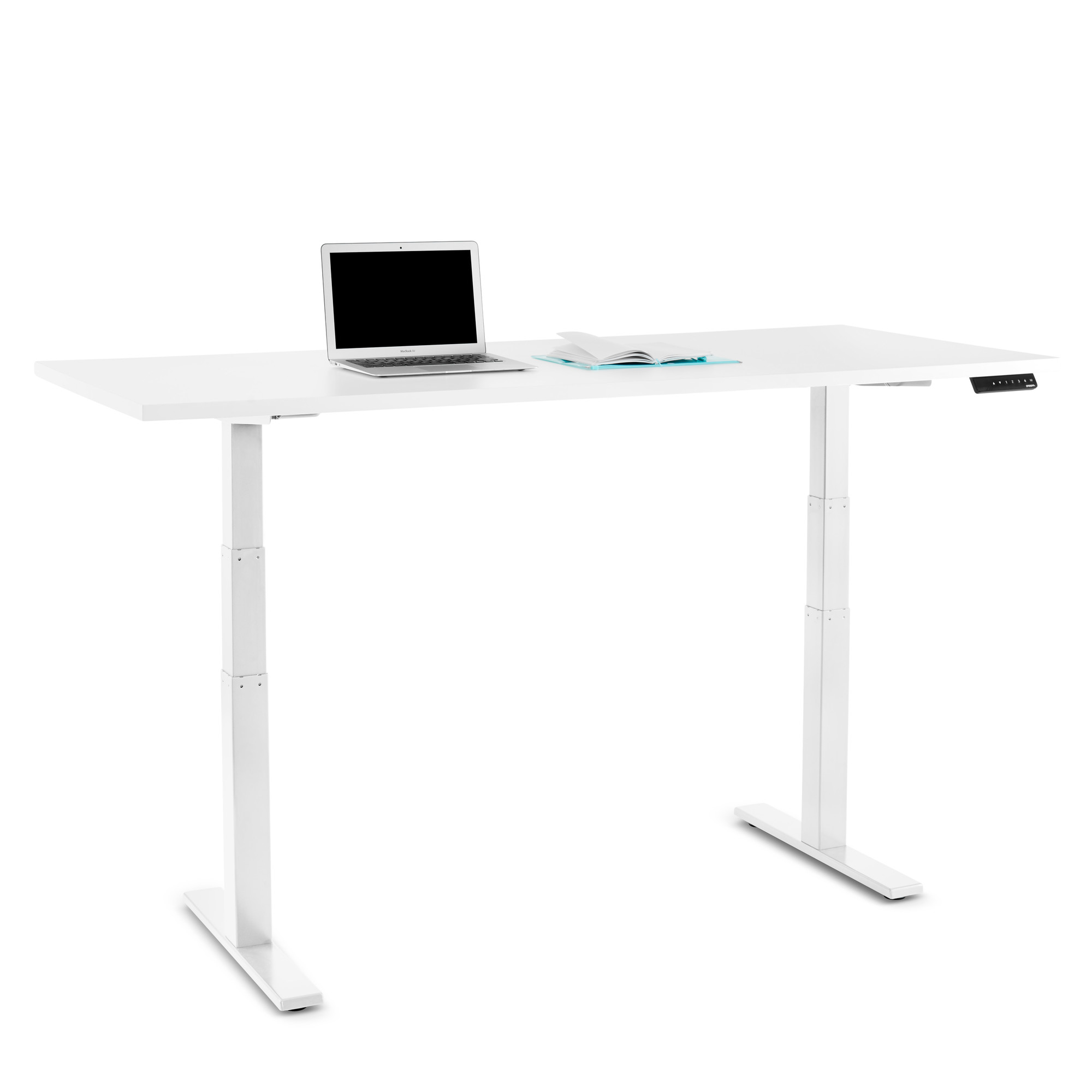 Series l adjustable height table white 72 x 30 white legs