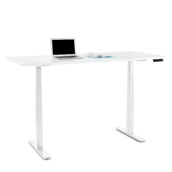 "Series L Adjustable Height Table, White, 72"" x 30"", White Legs,White,hi-res"