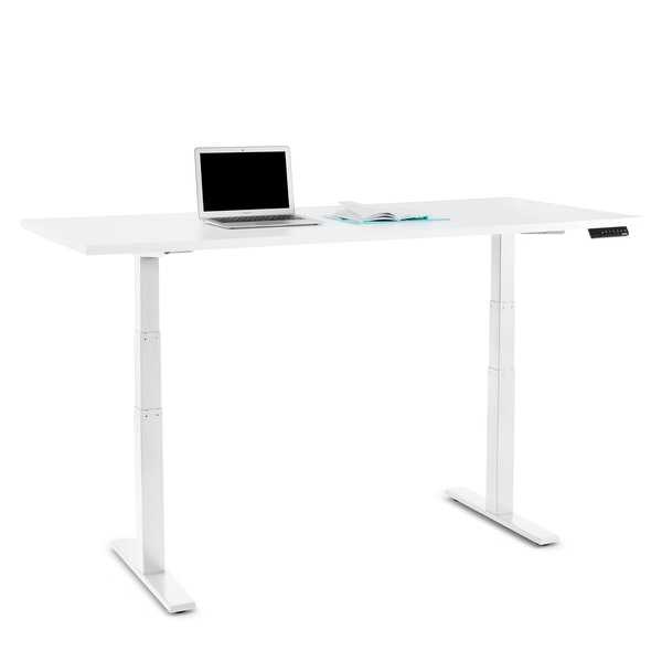 "Series L Adjustable Height Table, White, 72"" x 30"", White Legs,White,hi-res"