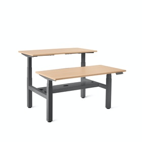 Series L Adjustable Height Double Desk for 2, Charcoal Legs
