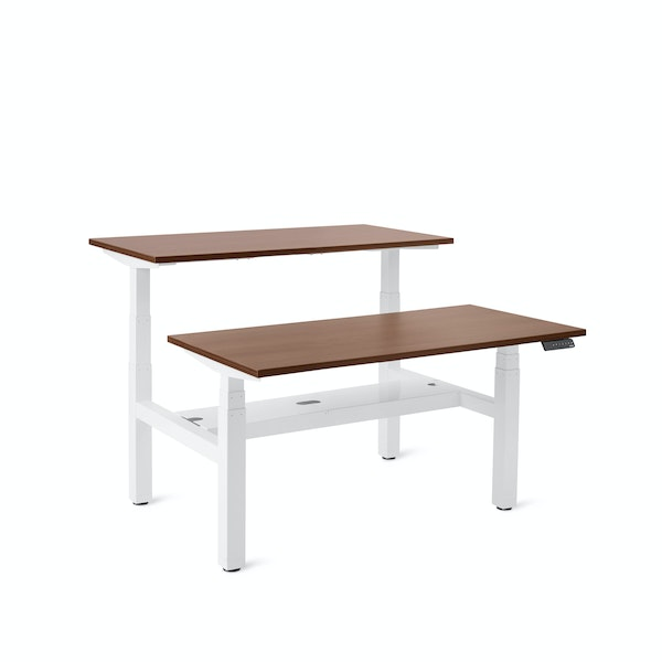 "Series L Adjustable Height Double Desk for 2, Walnut, 47"", White Legs,Walnut,hi-res"