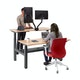 "Series L Adjustable Height Double Desk for 2, Natural Oak, 57"", Charcoal Legs,Natural Oak,hi-res"