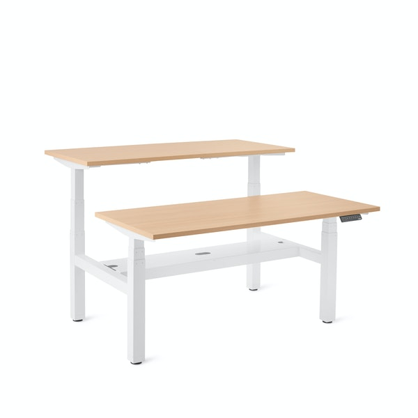 "Series L Adjustable Height Double Desk for 2, Natural Oak, 57"", White Legs,Natural Oak,hi-res"